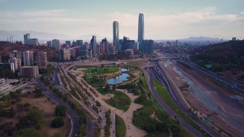 "Aerial view of  ""Vitacura bicentennial park"", on a clear day in Santiago of Chile"
