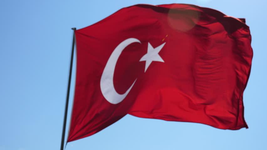 Turkish flag waving in wind.