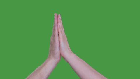 Friends giving high five, cropped view of hands