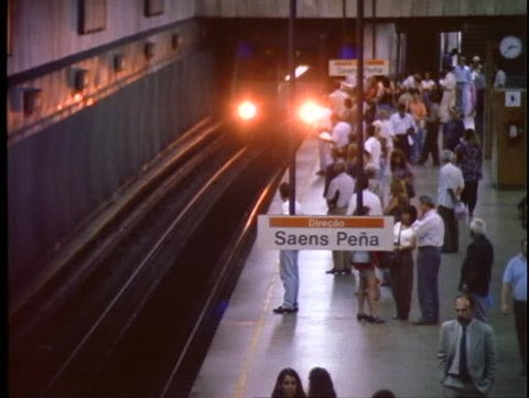 BRAZIL, 1998, Rio de Janerio, Metro subway, train enters station, people exit
