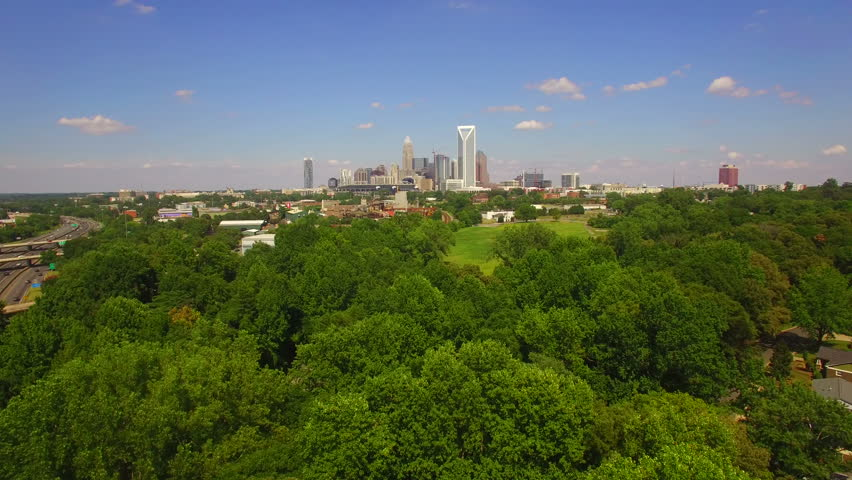 Aerial footage of downtown Charlotte NC