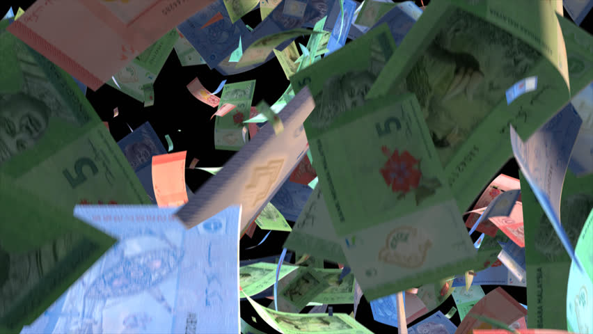 Falling Malaysia money banknotes Video Effect simulates Falling Mixed Malaysia money banknotes with alpha channel (transparent background) in 4k resolution  | Shutterstock HD Video #10104800