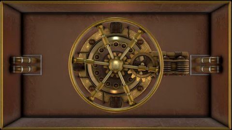 Steampunk bank vault door 3d animation. Ideal for Science fiction movies, TV shows, intro, news, commercials, retro, fantasy, steampunk related projects etc.