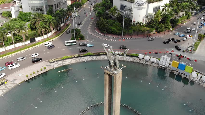 Ungraded Aerial Footage of Selamat Datang Monument in Jakarta, Indonesia. | Shutterstock HD Video #1010509400