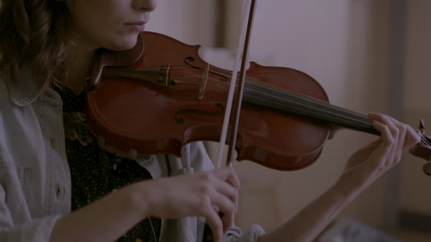 Close-up of musician playing violin HD stock video. Alexa camera