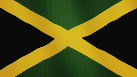 Jamaica flag waving animation. Full Screen. Symbol of the country.