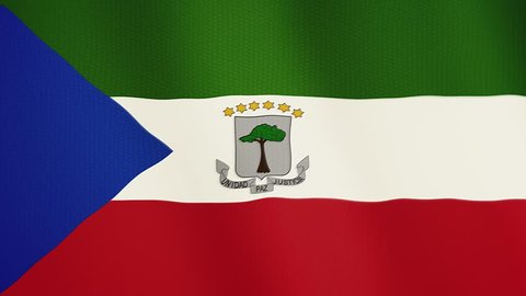 Equatorial Guinea flag waving animation. Full Screen. Symbol of the country.