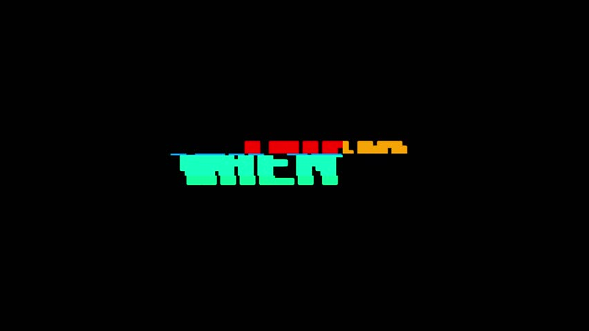 Retro videogame WHEN word text computer tv glitch interference noise screen animation seamless loop New quality universal vintage motion dynamic animated background colorful joyful video m | Shutterstock HD Video #1010569160