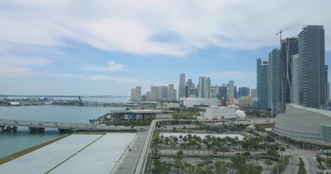 Aerial footage of Miami, Florida.