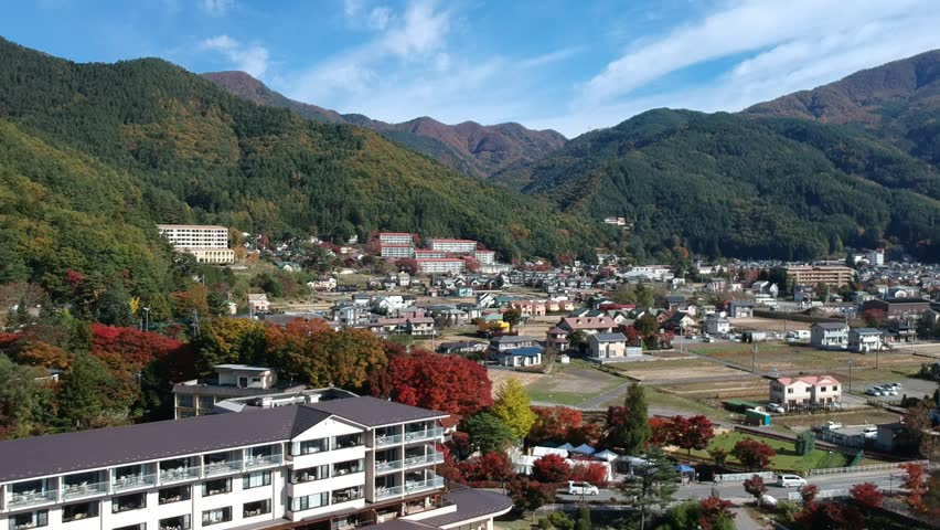Fuji, kawaguchiko city and Lake from top view, fly video to Mt Fuji and Kawafujiko city, Japan by drone in first winter which lovely day clear sky and moutain of Fujisan. | Shutterstock HD Video #1010585090