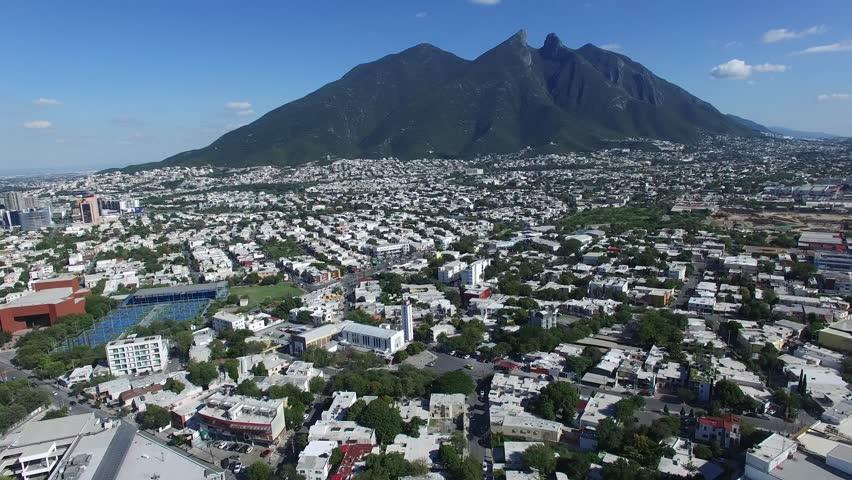 Monterrey sunrise mountains aerial