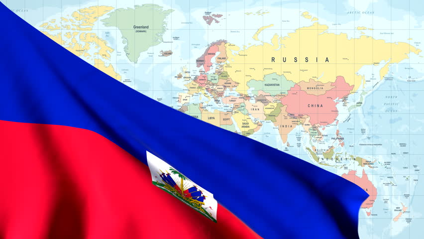 The waving flag of Haiti opens up the view to the position of Haiti on a colored world map