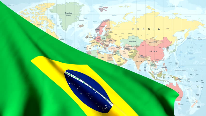 The waving flag of Brazil opens up the view to the position of Brazil on a colored world map