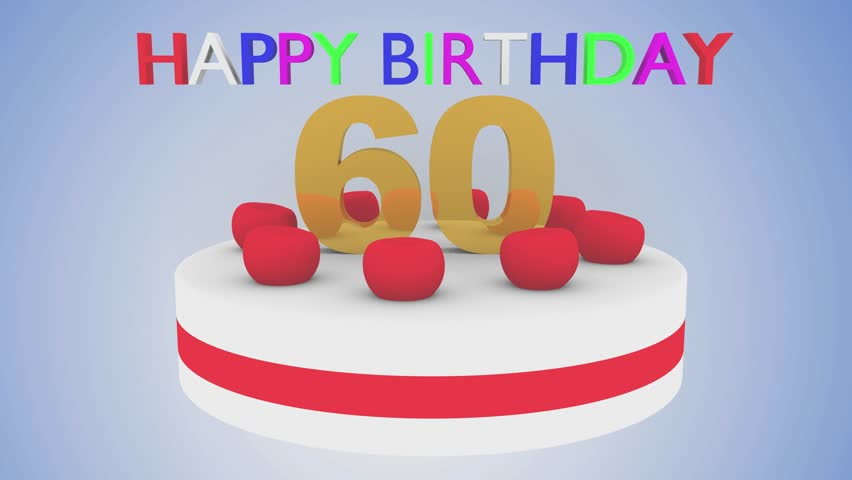 Happy Birthday Cake For Celebrating 60 Years Of Age With The Number In Center Decoration