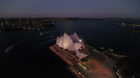 Aerial Australia Sydney April 2018 Night 15mm Wide Angle 4K Prores  Aerial video of downtown Sydney in Australia at night.