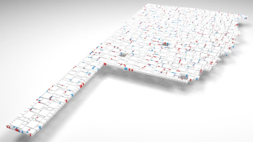 Map of Oklahoma - USA | 3d Rendering, mosaic of little bricks - White and flag colors. A number of 3853 little boxes are accurately inserted into the mosaic