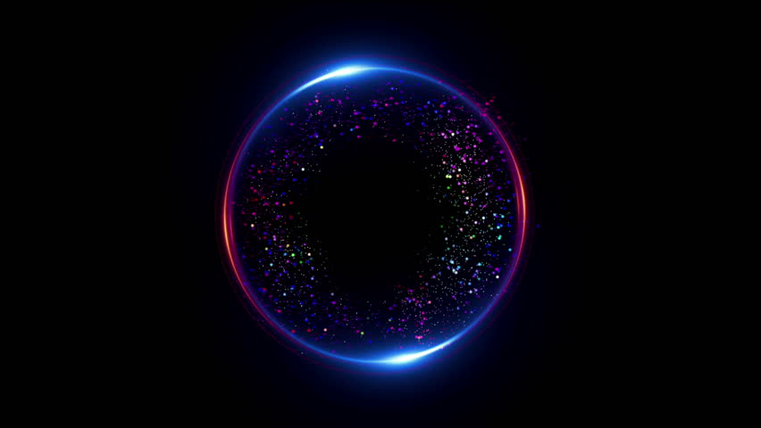 Abstract neon background. Shine ring. Halo around. Sparks particle.  Space tunnel. LED color ellipse. Glint glitter. Shimmer loop motion.  Empty hole. Glow portal. Pink ball. Slow spin. Bright disc.  | Shutterstock HD Video #1010674430