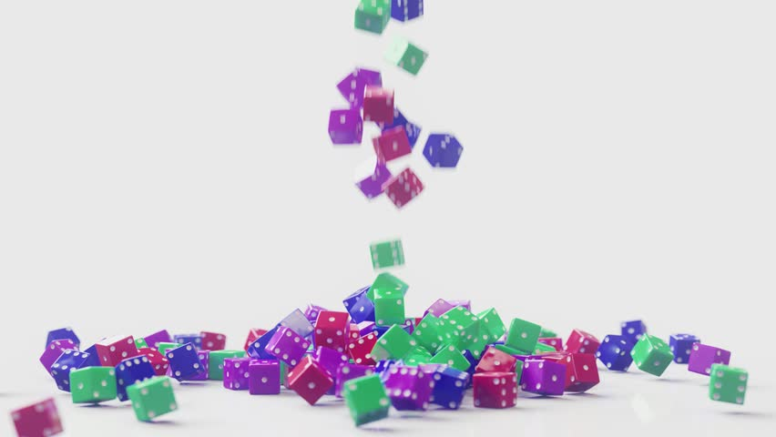 Colorful Dices slow motion falling down and landing. Realistic 4k 3D Animation