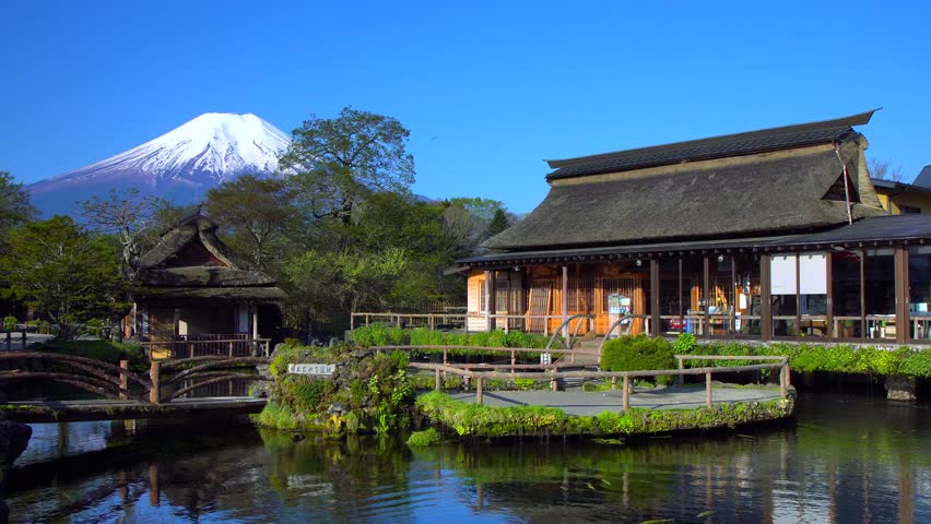 Traditional Japanese style house and mt.fuji at Oshino hakkai in Japan
