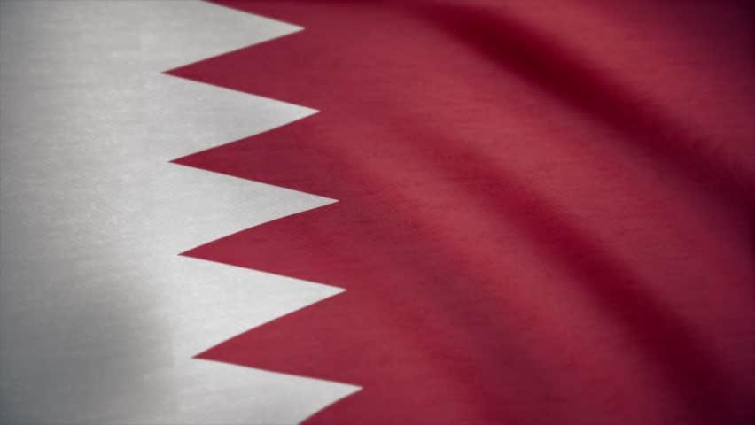 Flag of Bahrain with fabric texture, seamless loop. Waving Flag of Bahrain wave