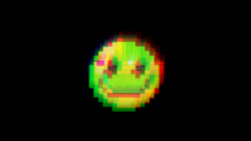 Smile hud holographic symbol on digital old tv screen seamless loop glitch interference animation new dynamic retro joyful colorful retro vintage video footage | Shutterstock HD Video #1010783660