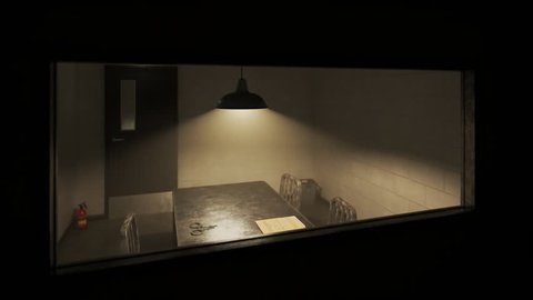 Empty, dark interrogation room with metal table and chairs, handcuffs and case files seen through one-way mirror.