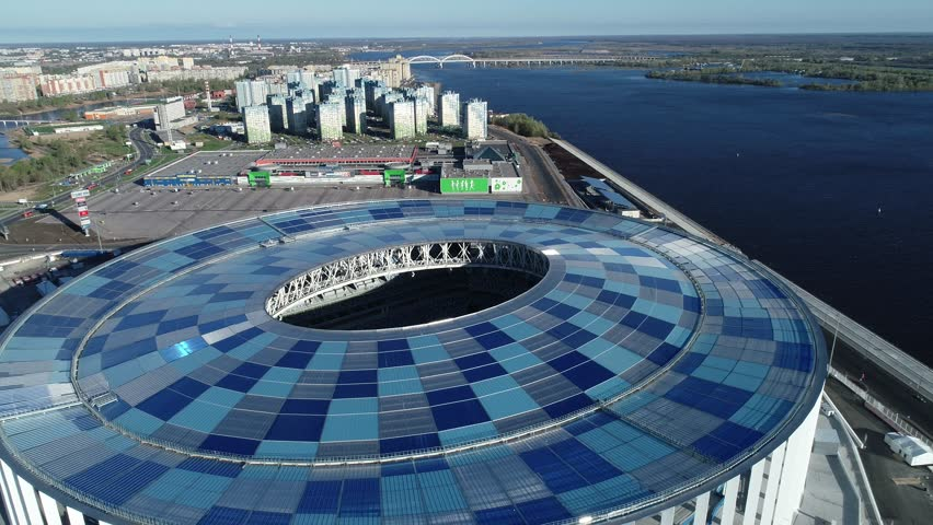 RUSSIA, Nizhny Novogorod - May, 2018: View of Nizhny Novogorod Stadium, building for the 2018 FIFA World Cup in Russia, from dron | Shutterstock HD Video #1010827640