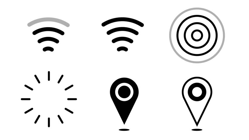 Animated icon wi-fi, gps pin, radio waves. Alpha channel included.