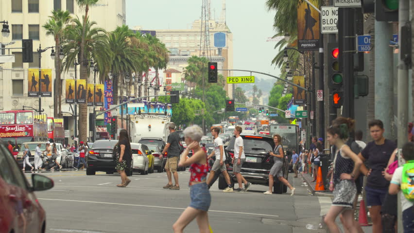 Los Angeles traffic. Busy street scene, Hollywood blvd. Walk of fame - August 2017: Los Angeles California, US