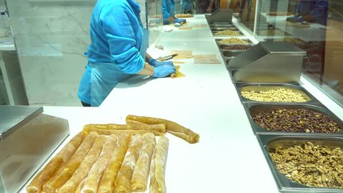 Turkish Delight , Turkish desserts, turkish freshman making stage Turkish Delight, Walnut, hazelnut, pistachio