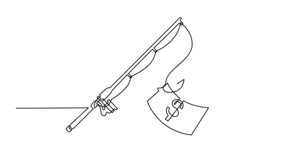 Self drawing animation of one line drawing of isolated vector object -fishing rod with dollar | Shutterstock HD Video #1010882030