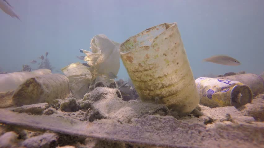 Plastic pollution of ocean. Water bottles and carrier bags dumped in sea