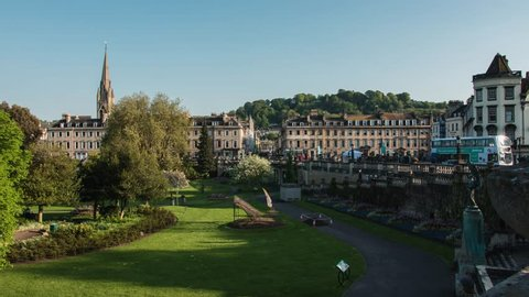 BATH - May 5: Time Lapse of Parade Gardens Park & Georgian Architecture of Bath on May 5th 2018 in Bath England.