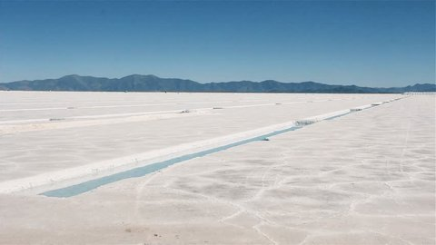 Salt Flat of Argentina. Salt Production. Pan Shot.