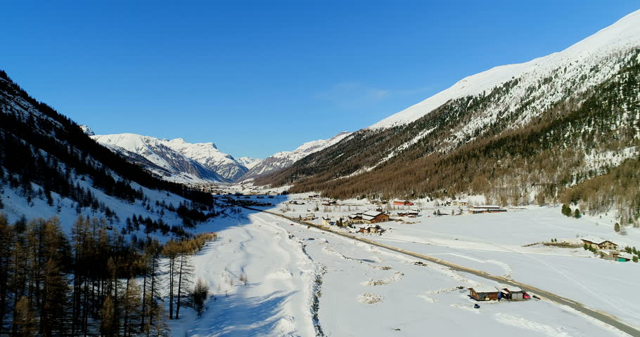 Livigno valley landscape, an aerial view