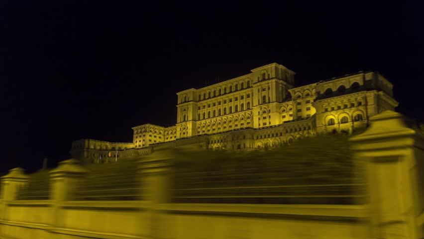 House of parliament hyper lapse, Bucharest, Romania