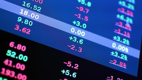 Financial Stock and Shares data on a computer screen