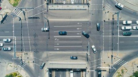 Aerial view of city interchange. Almaty. Kazakhstan