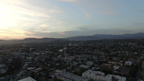 Aerial view of Echo Park neighborhood at sundown