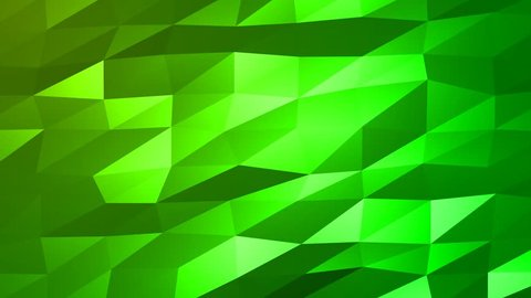 Loopable Abstract Green Low Poly 3D surface as CG background. Soft Polygonal Geometric Low Poly motion background of shifting Green polygons. 4K Fullhd seamless loop background render V76