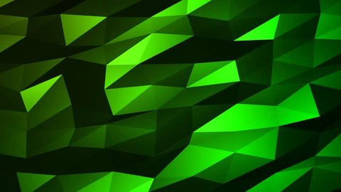 Loopable Abstract Green Low Poly 3D surface as CG background. Soft Polygonal Geometric Low Poly motion background of shifting Green polygons. 4K Fullhd seamless loop background render V91