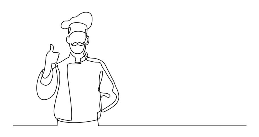 Self drawing animation of continuous line drawing of french chef showing thumb up | Shutterstock HD Video #1011085820