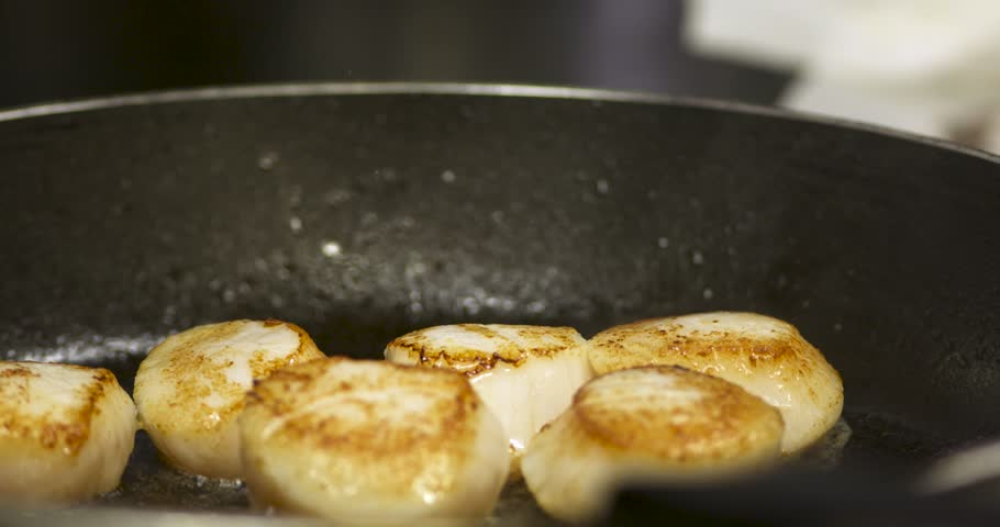 scallop cooking in a gourmet restaurant