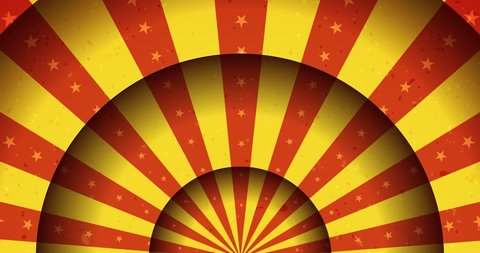 Vintage Animated Circus Merry-Go-Round Background/ Seamless looped animation of a vintage abstract circus merry-go-round background rotation, with shadow circles, sunbeams and soft grunge texture