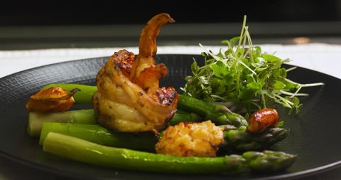 dish of a lobster with asparagus in a gourmet restaurant
