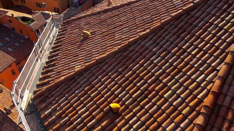 Aerial view of Bologna Italy European Old Town City Architecture