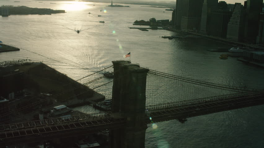 Aerial of Brooklyn Bridge at Sunset, New York City. Shot with a RED camera. 4k footage.