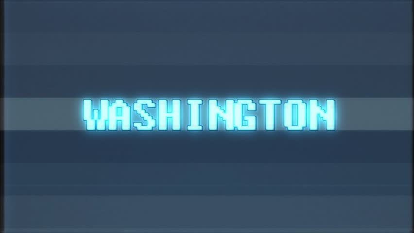 Retro videogame WASHINGTON word text computer tv glitch interference noise screen animation seamless loop New quality universal vintage motion dynamic animated background colorful joyful video m | Shutterstock HD Video #1011191060