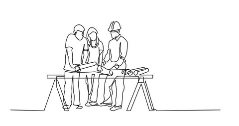 Self drawing animation of continuous line drawing of couple discussing construction plan with developer
