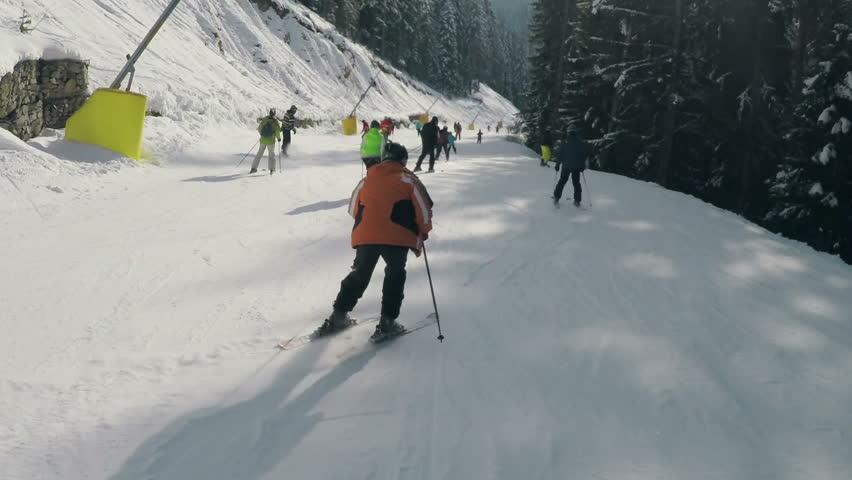Skier skiing on Bansko Ski Resort in winter